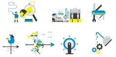 Icons and Direct marketing for London based content agency Echosix. #icon #picto #illustration #symbol