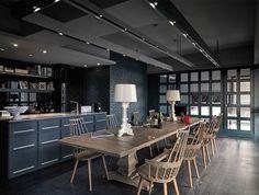 Dark Colored Apartment with Exposed Brick Walls - InteriorZine