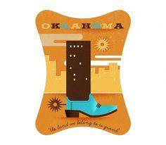 Oklahoma - The Everywhere Project #taylor #illustration #boot #oklahoma #goad