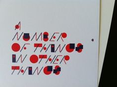 A Number of Things in Other Things #typography