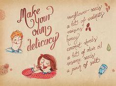 Zaczarowana Walizka #sesame #delicacy #lettering #recipe #food #illustration #sweets #hand #watercolour