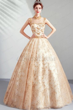 eDressit Gold High Neck Empire Embroidery Party Prom Gown (36224124)