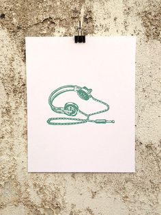 Headphones - 8 x 10 Mini Poster #earbuds #djing #kitsch #retro #headphones #dj #illustration #sound #vintage #etching #music #speakers #records