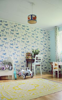 #wallpaper #room #interior #kids #horse #car #toy #lamp