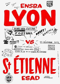 Alaric Garnier and Pablo Réol, Fine art Football game poster.#GoENSBAL!