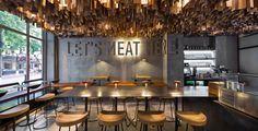 Shade Burger YOD studio interior design mindsparkle mag concrete wall ceiling hanging wood industrial modern typography sign type design