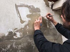 Creative Drawing: Scraping the Skin of Walls by Pejac