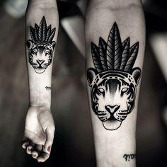 Mad Tea Party, tattoo: Kamil Czapiga #tattoo #tiger