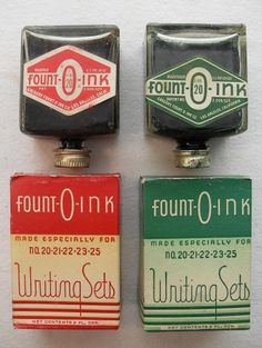 Más tamaños | Fount-O-Ink Writing Sets Ink Bottles 1940s Vintage | Flickr: ¡Intercambio de fotos! #ink