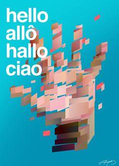 Hellobank by BNP Paribas #abstract #design #shapes #geometric #advertising #poly #bank #art #promo #polygonal #hand