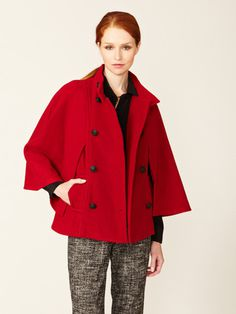 Eighteen68 Double Breasted Cape #fashion #red #coat