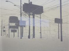 Kevin Haas - Spawl #urban #lithograph #silhouette #art #duotone #signage
