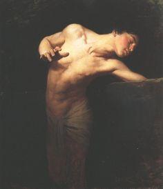 Benczur-narcissus.jpg (JPEG Image, 859x1000 pixels) #narcissus #gyula #benczr #painting