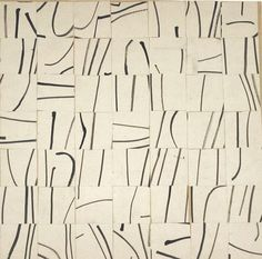 Brushstrokes Cut Into 49 Pieces and Arranged by Chance, 1951 #paint #collage #brush