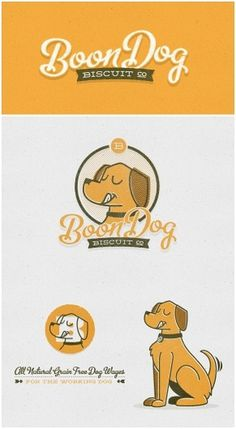 Joel Felix - Boon Dog Biscuit Co. - Boon Dog Biscuit Co. #script #typography #yellow #orange #illustration #vintage #biscuit #dog