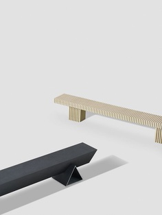 Solid Textile Board Benches by Max Lamb