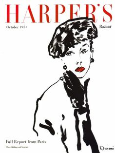 Harper`s Bazaar October 1951 #fashion #illustration #bazaar #magazine