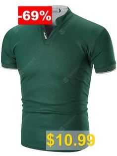 Men's #T-shirt #Short #Sleeve #Striped #Cuff #Stand #Collar #- #SEA #GREEN