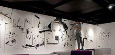 The Monster Mural on the Behance Network #interior #white #mural #black #restaurant #cafe #wall #drawing