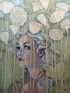 Lotus Girl by Fay Helfer #painting #illustration #art