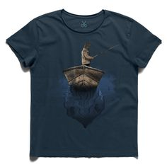 #fisherman #darkblue #tee #tshirt #seuss #fisherman #fishing #loneliness #sea #boat #fishhook