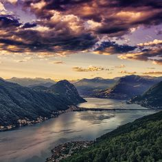 Photograph Swiss sunset by Edgar Romanovskis on 500px #clouds #photography #nature #river #trees