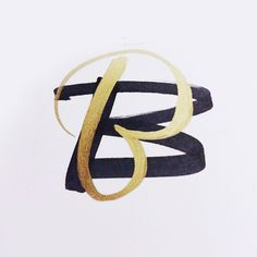 B by Jordan Lyle @jamdownflava #lettering #design #letter #cap #drop #gold #brush #pen #typography