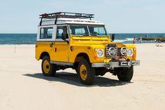 Drop Anchors #car #land rover #yellow #beach #1960s