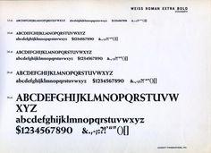 Weiss Roman Extra Bold type specimen #type #specimen #typography