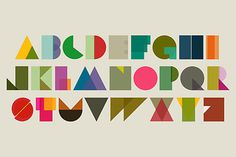 Colour-blocked letters #typography #geometric #colors #triangles #block