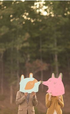 so cute! #couple #masks #illustration #forest #love