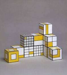Twelve cubes - Victoria & Albert Museum - Search the Collections #design #grid #shape #white #line #square #yellow #cubes #twelve