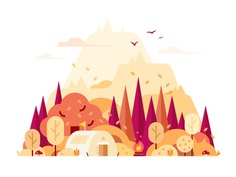 Nature-Autumn autunm ui tree tent ps nature illustration camping