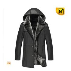 Shearling Leather Sheepskin Coat Black CW856044