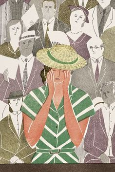 `The Outsider`, inside illustration by Masako Kubo #people #loneliness #illustration #hat #sadness