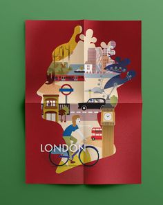 The multifaceted identity of London on Behance, Magda Azab #bicycle #underground #london #big #aoi #queen #illustration #transport #car #poster #face #ben #multicultural #editorial