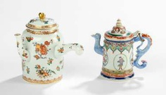 Two polychrome decorated teapots #porcelain