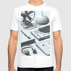Low Poly Objects T-shirt at Søciety6 #3d #cgi #cg #cinema4d #render #studio #turntable #fan #cactus #synthesizer #music #dj #pendant