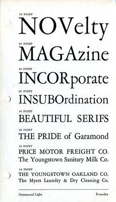 Garamond Light type specimen #type #garamond #specimen