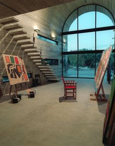 Art studio with interior workplace