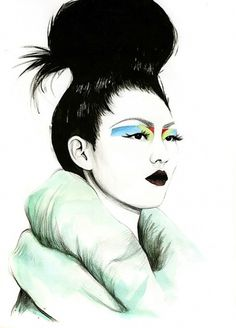 Ilustraciones de Caroline Andrieu #illustration #fashion #colors #make up #oriental woman