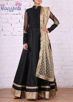 Vasansi Black Raw Silk Suit