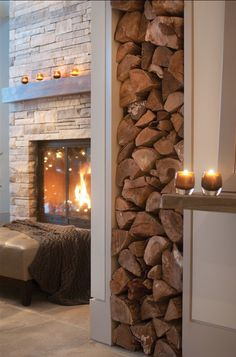 Firewood in wall #interior design