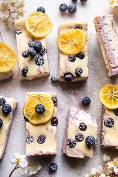 Blueberry Lemon Cheesecake Bars with Candied Lemon   halfbakedharvest.com #spring #easter #cheesecake #dessert