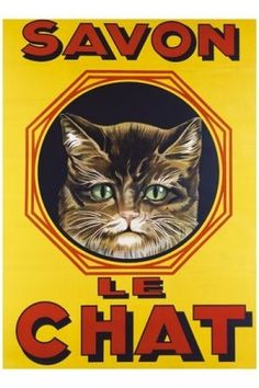 Savon Le Chat, vintage poster G80517 , Vintage Poster Market : Online Animals Posters & art illustrations, old reproduction #vintage #poster