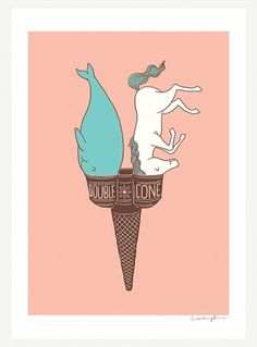 Double Cone Print by ilovedoodle on Etsy #unicorn #illlustration #cream #print #cone #double #ice