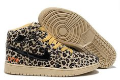New Style Leopard Sneakers Mens Nike Air Jordan 1 - Olympic (Black and Khaki) #shoes