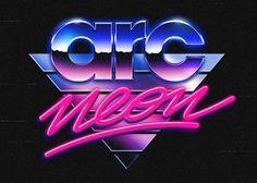 Overglow retrofuturistic logos #typography #vintage #retro #neon #80s