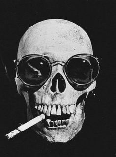 Whiskey Mustache #skull #cigarette