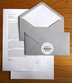 Mark Zuckerberg's Stationery | The Graphic Works of Ben Barry #envelopes #white #seal #collateral #stationery #letterhead #grey